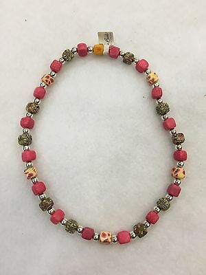 Viva Beads Clay Beads Necklace - Strawberry Peach 62553 NWT!