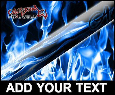 ADD TEXT Blue Flame Ash Custom Pool Cue Hot Fiery Personalized Gift
