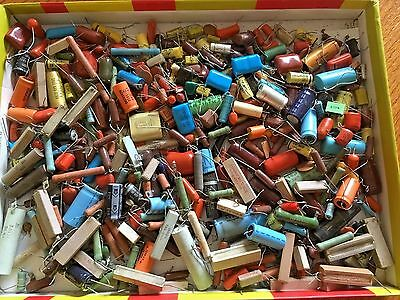 Assorted Large Lot of Vintage Capacitors Mixed Lot Capacitors Over 4#