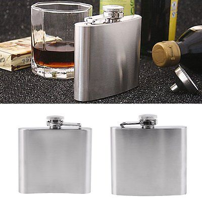 1/5/6/7oz Stainless Steel Pocket Hip Flask Funnel Cups Set Drink Bottle For YK