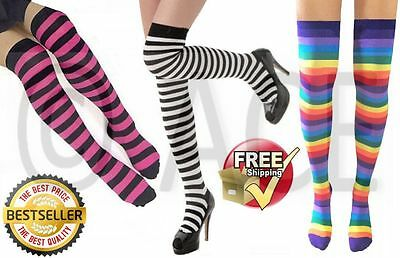 OVER KNEE SOCKS Stripey Thigh High Ladies Long Cotton Stocking Womens Striped