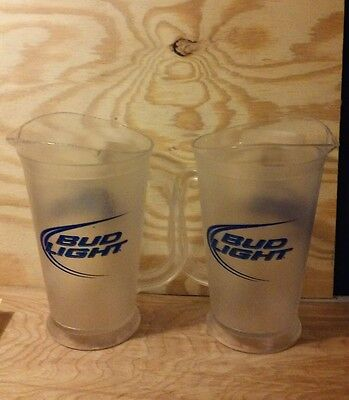 2 Bud Light Plastic Bar Style Beer Pitchers