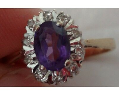 Ladies Antique 18K Gold Amethyst and Diamond Ring