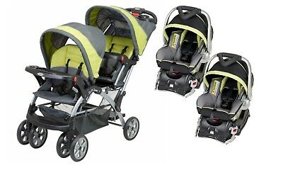 Baby Trend Sit N Stand Inline Double Baby Stroller & Twin Car Seat Travel