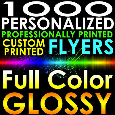1000 CUSTOM PRINTED 8.5x5.5 PERSONALIZED FLYERS Full Color Gloss Half Page 2side