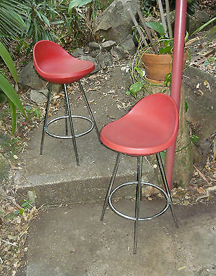 Midj Italian Bar Stools SPACE AGE 80s Moulded Plastic Original Vintage Foschia