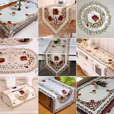 Embroidered Cutwork Flower Tablecloth Table Runner Placemat Cushion Tissue Cover
