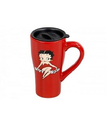 Official Licensed Betty Boop Ceramic Travel Mug - Red
