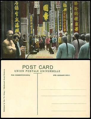 Hong Kong China Old Postcard Dog Fight DOGS FIGHTING Canton Street Scene Adverts