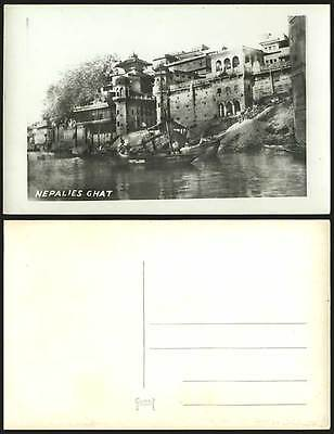 NEPAL Old Real Photo Postcard NAPALIES GHAT River Scene & Native Boat