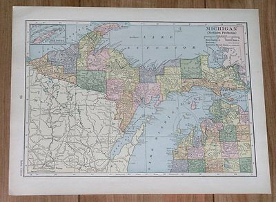 1928 Original Vintage Map Of Michigan / Northern Peninsula
