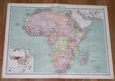 1908 Antique Map Of Africa German British French Colonies Tanzania South Africa