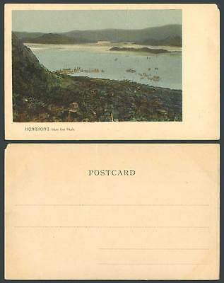Hong Kong China c1900 Old Colour UB Postcard Harbour Panorama from the Peak Boat