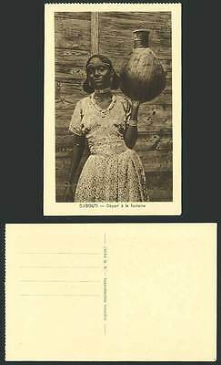 Djibouti French Somalis Old Postcard Native Woman Lady Carry Vessel to Fountain
