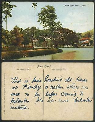Ceylon Old Colour Postcard Victoria Drive, Kandy, Lake Panorama Sri Lanka Ceylan