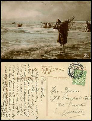 Fishers with Large Fishing Nets, Salon, Francis Tattogram 1910 1913 Old Postcard