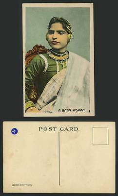 India A BATIA WOMAN Girl Lady Old Colour Postcard Ethnic British Indian Costumes