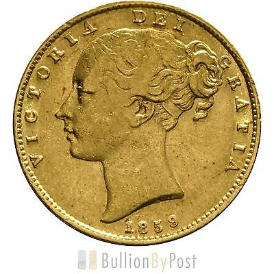1859 Gold Sovereign - Victoria Young Head Shield Back- London