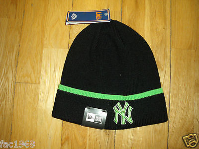 New Era Men's Pop Cuff Knitted Knit Black Green Beanie Hat One Size New