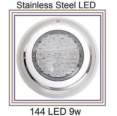 HQ Stainless Steel 144 LED Lights RGB 7 Colour Swimming Pool Spa Wall Mounted