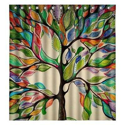 Big Colorful Tree Print Fabric Bathroom Shower Curtain Liner Polyester Drape