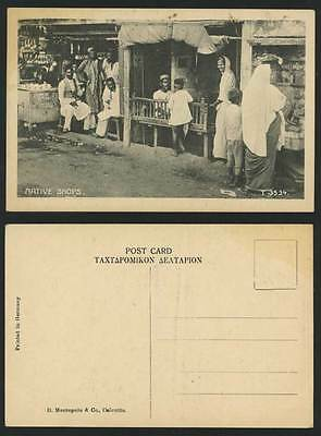India Old Postcard Native Shops Shopfronts Soap Sellers