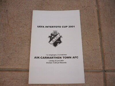 AIK SOLNA-STOCKHOLM 2000/01 Inter-Toto Cup vs CARMARTHEN TOWN