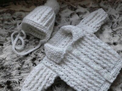 Hand made ,crochet baby boys cardigan +  hat,  0_3 month ,new