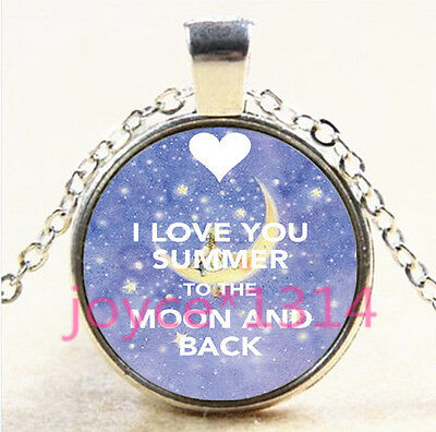 I LOVE YOU TO THE MOON AND BACK Tibetan silver Glass Chain Pendant Necklace#3001