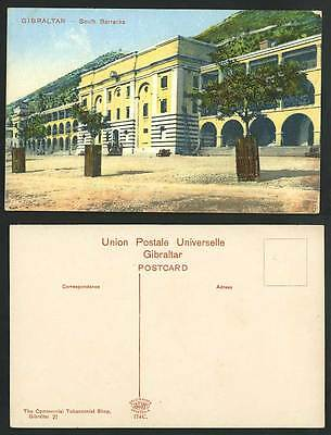 Gibraltar Old Postcard SOUTH BARRACKS, Military, The Commercial Tobacconist Shop