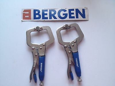 Bergen 2 x 150mm LOCKING C CLAMP  with Swivel Contact Pads mole vice grip