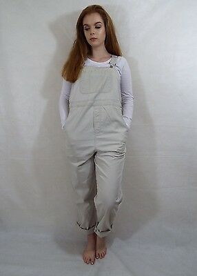 Maternity Dungarees Size S L29 Oversized Cream Overalls Motherhood Lightweight