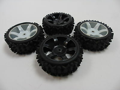 Used 1/5 Car Off-Road Tyres & Wheels with Square Axle Fitting (Tyre 165x60mm) x4