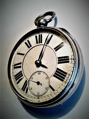 Large Victorian silver fusee pocket watch c1883  for repair