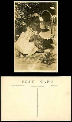 Egypt Old Real Photo Postcard Native African Man and Woman Ethnic Life Costumes