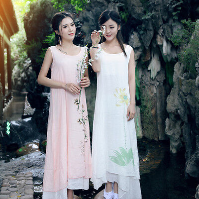 Traditional Printing Floral Two Layers Sleeveless Chinese Women's Summer Dresses