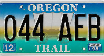 Authentic 1995 Oregon Trail Covered Wagon Pioneer Graphic License Plate 044 Aeb