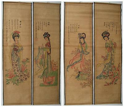 Chinese painting exquisite scroll four beautys Tang Bohu 4 scrolls