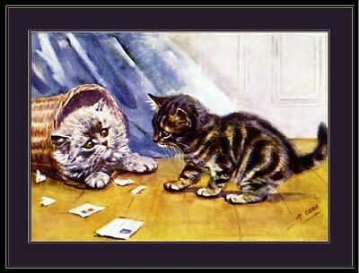 English Picture Persian Tabby Kitten Cat Kittens Cats Vintage Poster Art Print