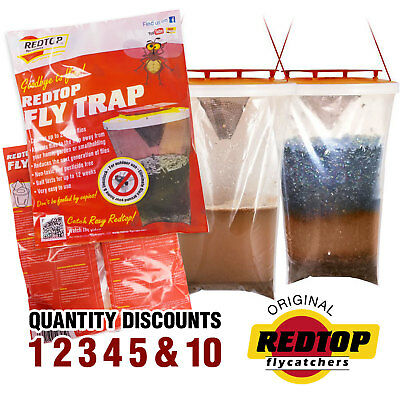 GENUINE RED TOP FLY TRAP Original Best Fly Catcher 1, 2, 3, 4, 5, 10 FREE UK P&P