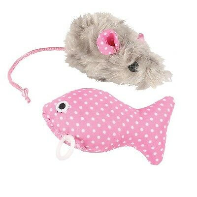 Cat Kitten Play Set Toy With Fluffy Mouse & Vibrating Fish Pink Or Blue Design