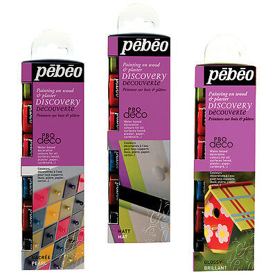 Pebeo Deco Discovery Set Craft, DIY, Home Decor Acrylic Colour Paint 6 x 20ml
