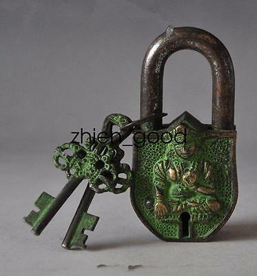 China's Tibet Buddhism bronze sculpture white tara big door lock, the key CZQ10