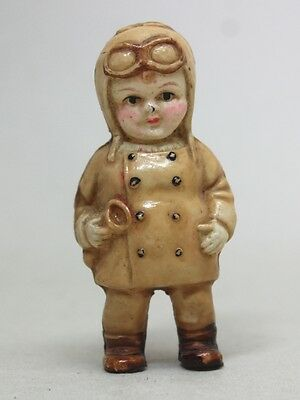 RARE Antique CELLULOID DOLL FIGURE SMALL BOY AVIATOR TOY