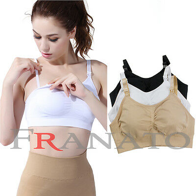 Seamless Maternity Nursing Breastfeeding Bra Comfort Wireless Removal Pads Bras