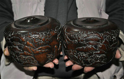 Antique Chinese Huanghuali wood carved mountain pine house Game go Weiqi box Jar