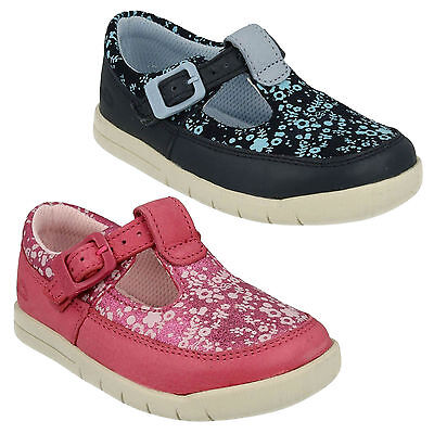 Infant Girls Clarks Crazy Tale Leather T Bar Floral First Walking Shoes Size