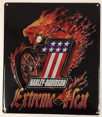 Ande Rooney HARLEY DAVIDSON EXTREME HEAT Motorcycle HD Flaming Eagle #1 Tin Sign