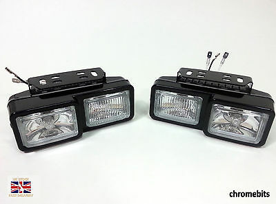Universal Front Fog & Spot Lights Car Van Pickup 12V H3 55W Truck Box Camper New