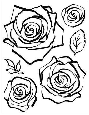 Viva Decor Clear Silicone Stamps - 3D Rose - 025 - 6 Stamps - Flowers - NEW